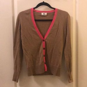Brown cardigan with pink lining